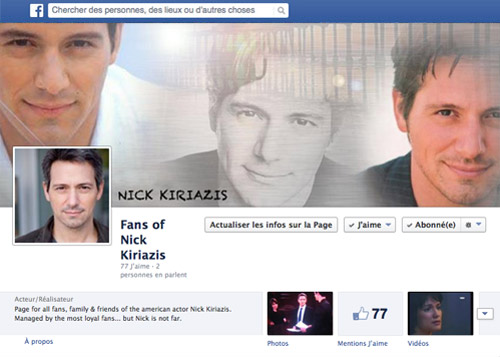 Facebook Fan Page de Nick Kiriazis