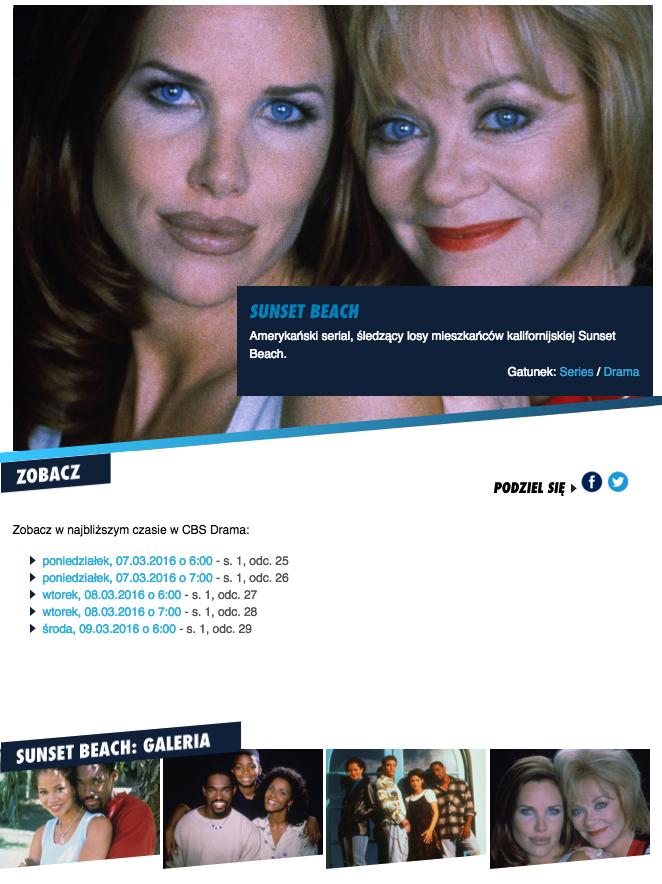 La diffusion de Sunset Beach sur CBS Drama en Pologne